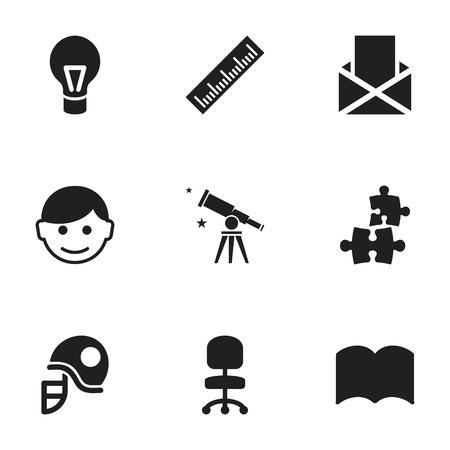 Ensemble de 9 icônes scolaires modifiables. Comprend des symboles tels que l'enveloppe, Jigsaw, Straightedge, etc. Peut être utilisé pour Web, Mobile, UI et conception infographique. Vecteurs