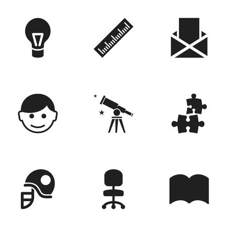 Set Of 9 Editable School Icons. Includes Symbols Such As Envelope, Jigsaw, Straightedge And More. Can Be Used For Web, Mobile, UI And Infographic Design. Illustration