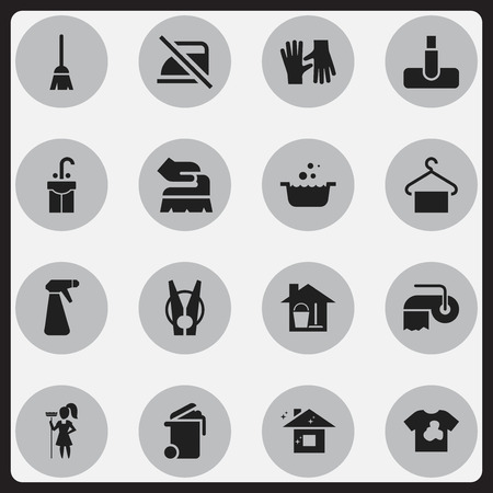 pulverizer: Set Of 16 Editable Dry-Cleaning Icons. Includes Symbols Such As Pulverizer, Scrub, Hoover And More. Can Be Used For Web, Mobile, UI And Infographic Design.