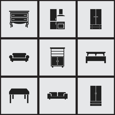 dresser: Set Of 9 Editable Interior Icons. Includes Symbols Such As Cuisine, Cupboard, Wooden Table And More. Can Be Used For Web, Mobile, UI And Infographic Design.