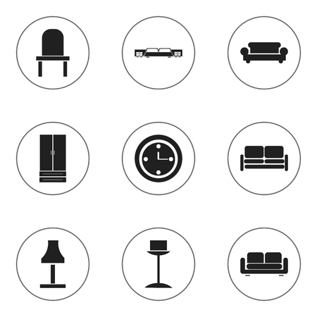 furnishings: Set Of 9 Editable Furnishings Icons. Includes Symbols Such As Divan, Cupboard, Watch And More. Can Be Used For Web, Mobile, UI And Infographic Design. Illustration