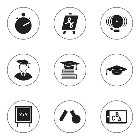 tabulation: Set Of 9 Editable Graduation Icons. Includes Symbols Such As Phial, Ring, Tabulation And More. Can Be Used For Web, Mobile, UI And Infographic Design.