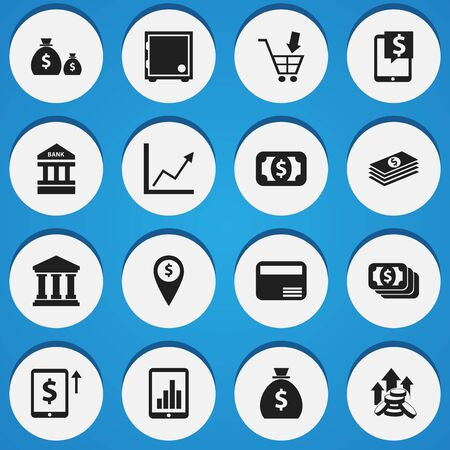 courthouse: Set Of 16 Editable Finance Icons. Includes Symbols Such As Currency, Crate, Money Card And More. Can Be Used For Web, Mobile, UI And Infographic Design.