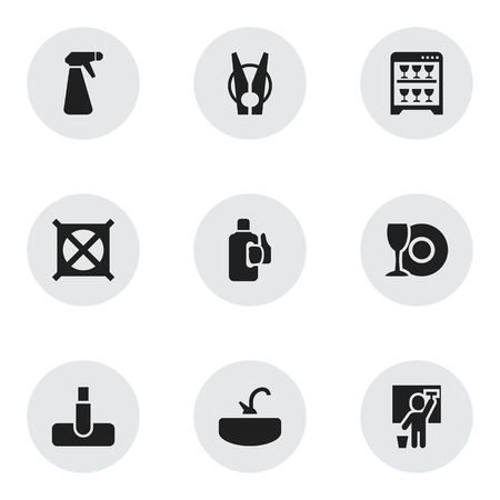 Set Of 9 Editable Dry-Cleaning Icons. Includes Symbols Such As Cleaning Man, Tap, Dishwasher And More. Can Be Used For Web, Mobile, UI And Infographic Design. Illustration