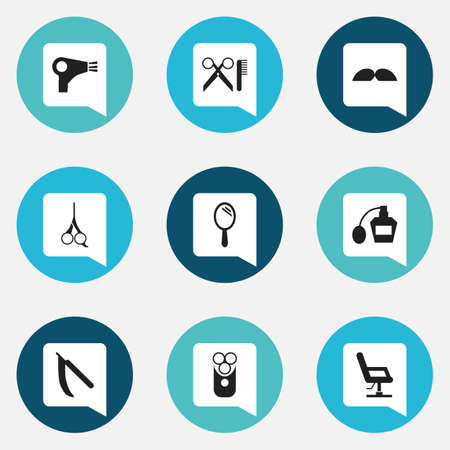 barbershop: Set Of 9 Editable Hairstylist Icons. Includes Symbols Such As Elbow Chair, Scent, Cutter Apparatus And More. Can Be Used For Web, Mobile, UI And Infographic Design.