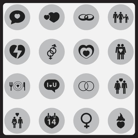 Ensemble de 16 icônes modifiables d'amour. Comprend des symboles tels que le divorce, la Saint-Valentin, la lignée, etc. Peut être utilisé pour Web, Mobile, UI et conception infographique.