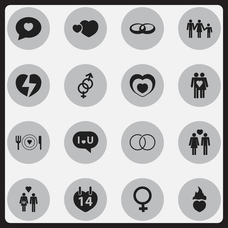 Set Of 16 Editable Amour Icons. Includes Symbols Such As Divorce, Valentines Day, Lineage And More. Can Be Used For Web, Mobile, UI And Infographic Design.
