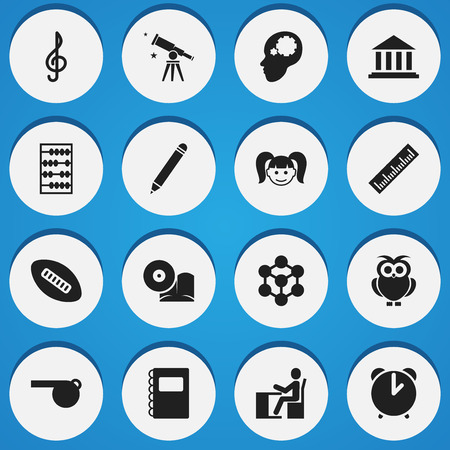 Set Of 16 Editable School Icons. Includes Symbols Such As Blower, Alarm, Binoculars And More. Can Be Used For Web, Mobile, UI And Infographic Design.