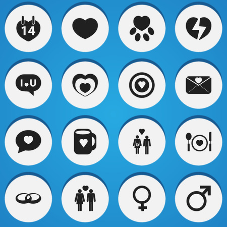 pounce: Set Of 16 Editable Love Icons. Includes Symbols Such As Family, Dartboard, Cutlery And More. Can Be Used For Web, Mobile, UI And Infographic Design. Illustration