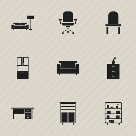 modern living room: Set Of 9 Editable Interior Icons. Includes Symbols Such As Lectern, Stillage, Lamp And More. Can Be Used For Web, Mobile, UI And Infographic Design.