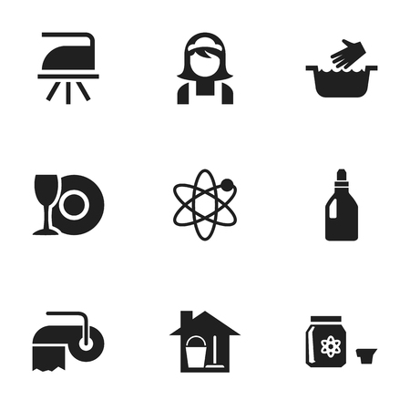 Set Of 9 Editable Cleaning Icons. Includes Symbols Such As Flatiron, Clothes Washing, Hotel Staff And More. Can Be Used For Web, Mobile, UI And Infographic Design. Illustration