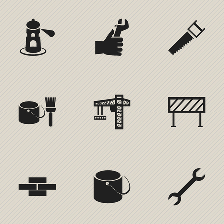 sea saw: Set Of 9 Editable Construction Icons. Includes Symbols Such As Wrench, Crane, Pail And More. Can Be Used For Web, Mobile, UI And Infographic Design. Illustration