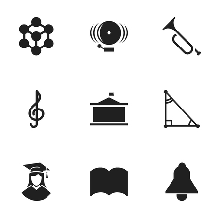 Set Of 9 Editable University Icons. Includes Symbols Such As Bell, Quaver, Dictionary And More. Can Be Used For Web, Mobile, UI And Infographic Design.