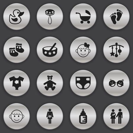 Conjunto de 16 iconos editables del bebé. Incluye símbolos como marca de pie, vestidos pequeños, adornar y más. Se puede usar para diseño web, móvil, de interfaz de usuario y de infografía.