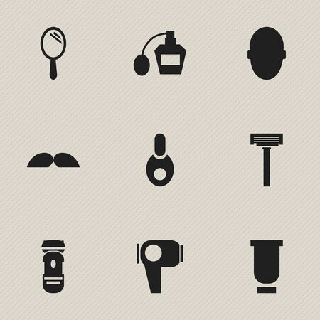 hot woman: Set Of 9 Editable Coiffeur Icons. Includes Symbols Such As Hair Drier, Shaver, Vial And More. Can Be Used For Web, Mobile, UI And Infographic Design. Illustration