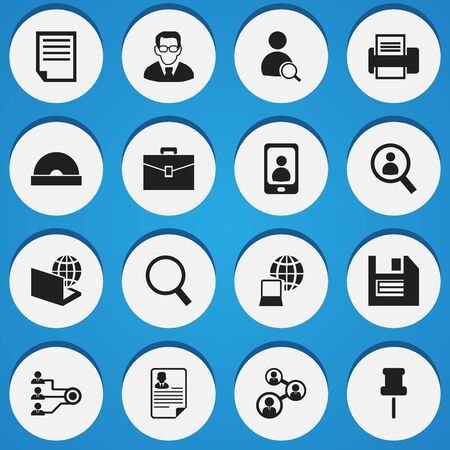 dvd room: Set Of 16 Editable Office Icons. Includes Symbols Such As Loupe, Marker, Floppy And More. Can Be Used For Web, Mobile, UI And Infographic Design. Illustration