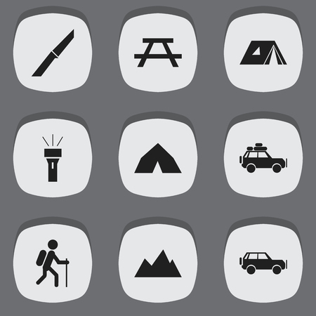 settle: Set Of 9 Editable Camping Icons. Includes Symbols Such As Sport Vehicle, Shelter, Knife And More. Can Be Used For Web, Mobile, UI And Infographic Design.
