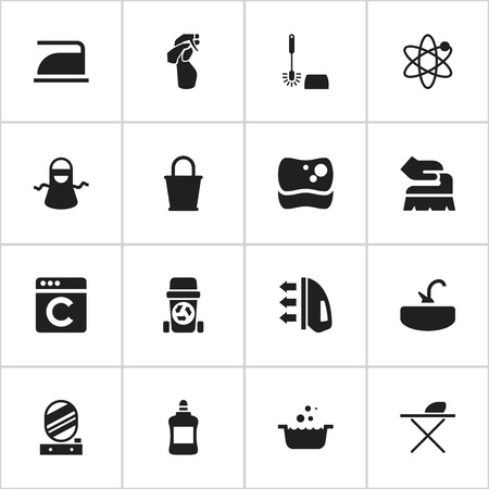 Set Of 16 Editable Dry-Cleaning Icons. Includes Symbols Such As Power, Kitchen Clothing, Ironing And More. Can Be Used For Web, Mobile, UI And Infographic Design. Illustration