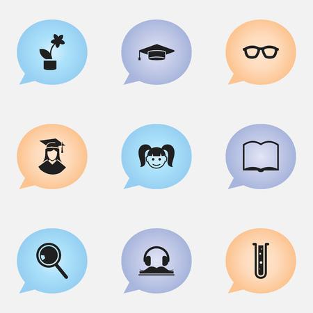 Ensemble de 9 icônes de remise des diplômes modifiables. Comprend des symboles tels que diplômé, livre, fille, etc. Peut être utilisé pour la conception Web, mobile, UI et infographique. Vecteurs