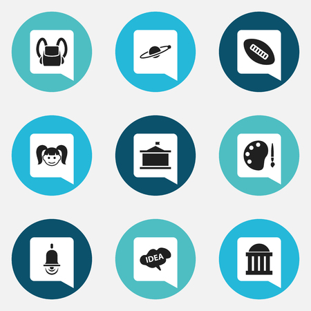 Set Of 9 Editable University Icons. Includes Symbols Such As Univercity, Astrology, Courtroom And More. Can Be Used For Web, Mobile, UI And Infographic Design.