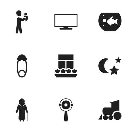 fish tank: Set Of 9 Editable Family Icons. Includes Symbols Such As Fasten, Rattle, Fish Tank And More. Can Be Used For Web, Mobile, UI And Infographic Design.