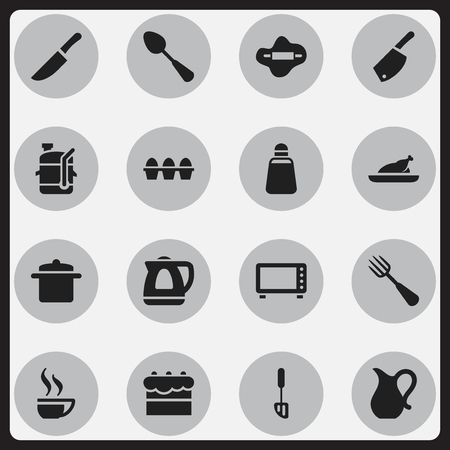 Set Of 16 Editable Meal Icons. Includes Symbols Such As Squeezer, Dough, Teapot Appliance And More. Can Be Used For Web, Mobile, UI And Infographic Design.