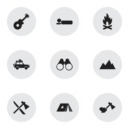 conflagration: Set Of 9 Editable Travel Icons. Includes Symbols Such As Shelter, Field Glasses, Musical Instrument And More. Can Be Used For Web, Mobile, UI And Infographic Design.