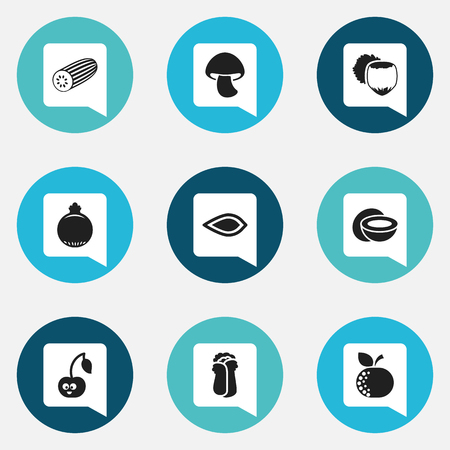 intake: Set Of 9 Editable Cooking Icons. Includes Symbols Such As Mushroom, Cucumber, Amygdalaceous And More. Can Be Used For Web, Mobile, UI And Infographic Design.
