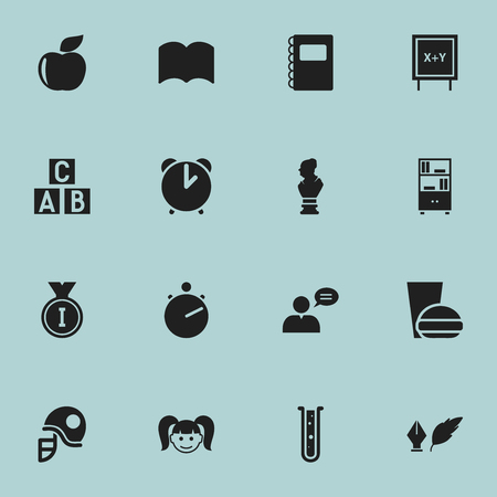 Set Of 16 Editable University Icons. Includes Symbols Such As Literature, Copybook, Daughter And More. Can Be Used For Web, Mobile, UI And Infographic Design. Illustration