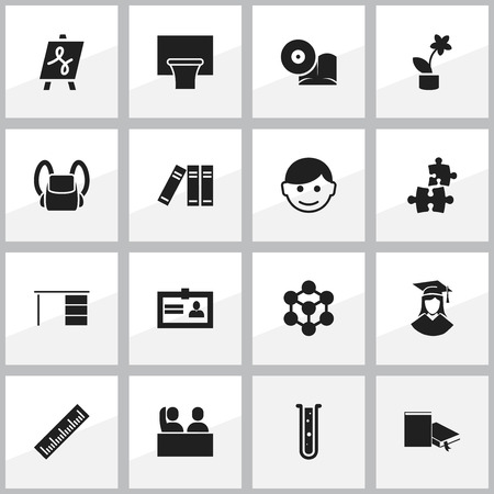 tabulation: Set Of 16 Editable University Icons. Includes Symbols Such As Schoolbag, Straightedge, Bookshelf And More. Can Be Used For Web, Mobile, UI And Infographic Design.