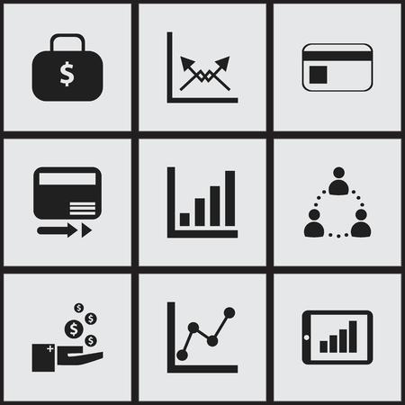 9 編集可能な統計アイコンのセットです。お金の袋、グラフについて、伝送などの記号が含まれています。Web、モバイル、UI、インフォ グラフィック
