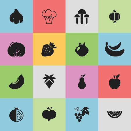 Ensemble de 16 icônes Berry modifiables. Comprend des symboles tels que le radis, le grenat, l'orage et plus. Peut être utilisé pour la conception Web, mobile, UI et infographique. Banque d'images - 75201753