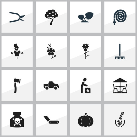 bugaboo: Set Of 16 Editable Planting Icons. Includes Symbols Such As Farm Tool, Plant Cutter, Garden Seat And More. Can Be Used For Web, Mobile, UI And Infographic Design.