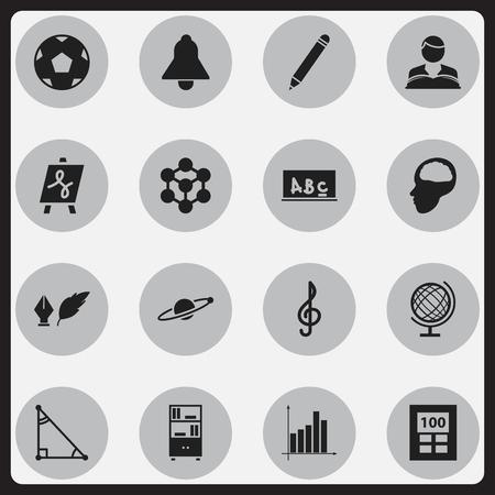Ensemble de 16 icônes de l'éducation modifiables. Comprend des symboles tels que graphique, étudiant Boy, Molecule et plus. Peut être utilisé pour Web, Mobile, UI et conception infographique.