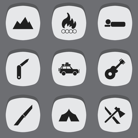 pinnacle: Set Of 9 Editable Travel Icons. Includes Symbols Such As Voyage Car, Knife, Blaze And More. Can Be Used For Web, Mobile, UI And Infographic Design.