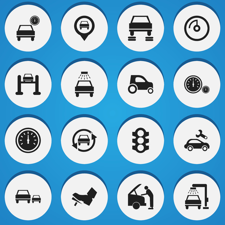 treadle: Set Of 16 Editable Transport Icons. Includes Symbols Such As Speed Display, Vehicle Wash, Treadle And More. Can Be Used For Web, Mobile, UI And Infographic Design.