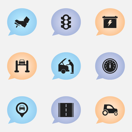 treadle: Set Of 9 Editable Car Icons. Includes Symbols Such As Vehicle Car, Treadle, Stoplight And More. Can Be Used For Web, Mobile, UI And Infographic Design.