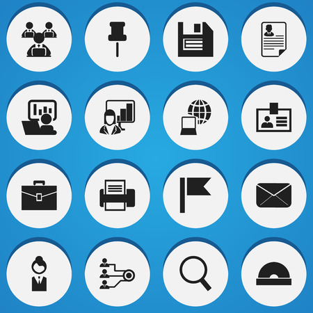 tack: Set Of 16 Editable Company Icons. Includes Symbols Such As Publicity, Architecture, Authentication And More. Can Be Used For Web, Mobile, UI And Infographic Design.