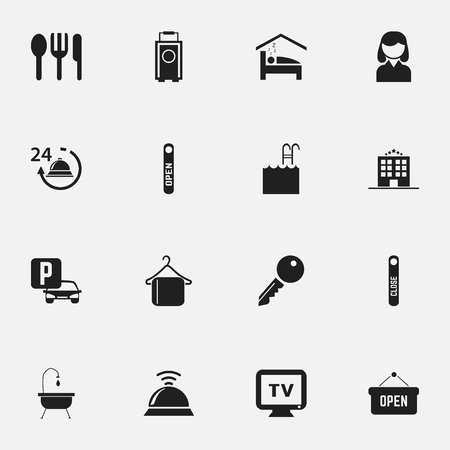 checkroom: Set Of 16 Editable Travel Icons. Includes Symbols Such As Open Sign, Auto Stand, Shower. Can Be Used For Web, Mobile, UI And Infographic Design. Illustration