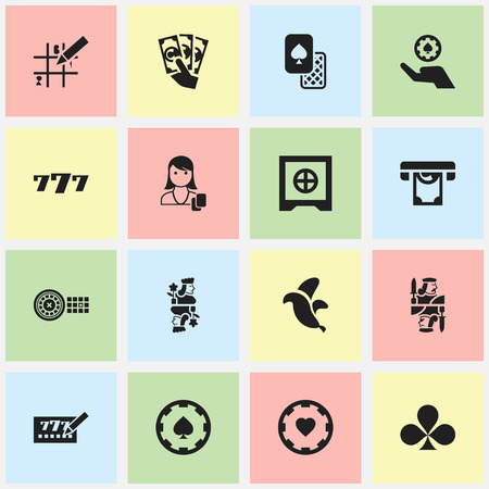 seven persons: Set Of 16 Editable Excitement Icons. Includes Symbols Such As Woman Gamer, Lottery Ticket, Poker Money And More. Can Be Used For Web, Mobile, UI And Infographic Design. Illustration