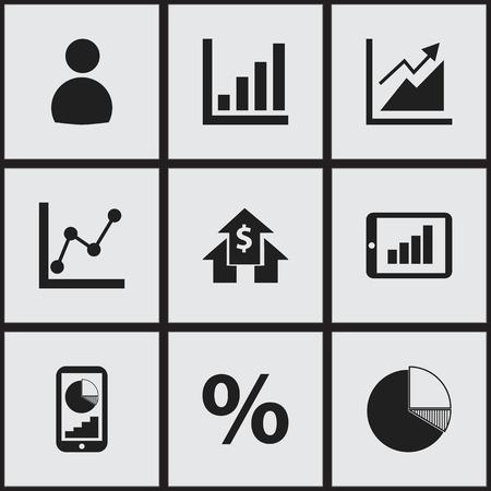 9 編集可能な論理アイコンのセットです。ユーザーの電話の統計情報をグラフの情報、詳細などの記号が含まれています。Web、モバイル、UI、インフ  イラスト・ベクター素材