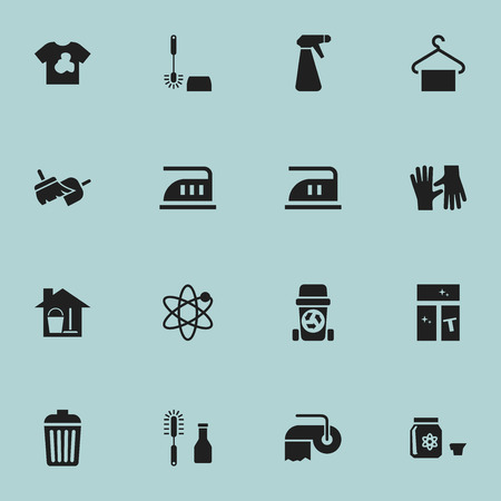Set Of 16 Editable Cleanup Icons. Includes Symbols Such As Unclean Blouse, Power, Trash And More. Can Be Used For Web, Mobile, UI And Infographic Design. Illustration