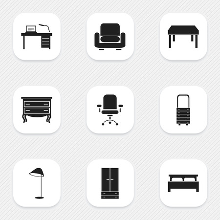 stool: Set Of 9 Editable Furniture Icons. Includes Symbols Such As Cabinet, Wooden Table, Wall Mirror And More. Can Be Used For Web, Mobile, UI And Infographic Design. Illustration