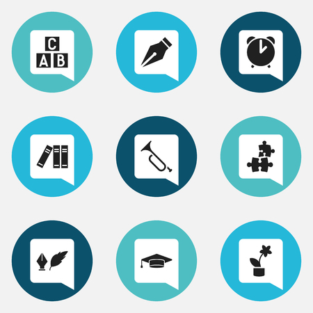 Set Of 9 Editable School Icons. Includes Symbols Such As Literature, Bookshelf, Nib And More. Can Be Used For Web, Mobile, UI And Infographic Design.