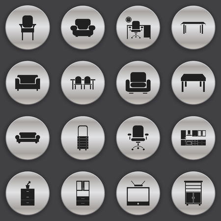 stool: Set Of 16 Editable Home Icons. Includes Symbols Such As Recliner, Settee, Stool And More. Can Be Used For Web, Mobile, UI And Infographic Design.