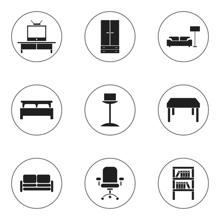 Set Of 9 Editable Furniture Icons. Includes Symbols Such As Bearings, Bookrack, Tv And More. Can Be Used For Web, Mobile, UI And Infographic Design. Illustration