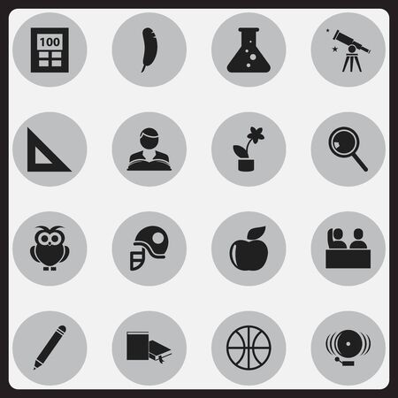 handglass: Set Of 16 Editable School Icons. Includes Symbols Such As Handglass, Bookmark , Student.
