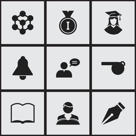 75343561 - Conjunto de 9 iconos de la Universidad editables. Incluye  símbolos como Graduado femenino 77df2b8bbd8