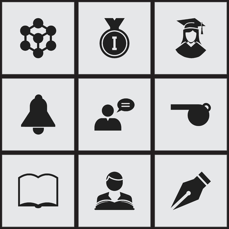 perusal: Set Of 9 Editable University Icons. Includes Symbols Such As Graduated Female, Book, First Place And More. Illustration