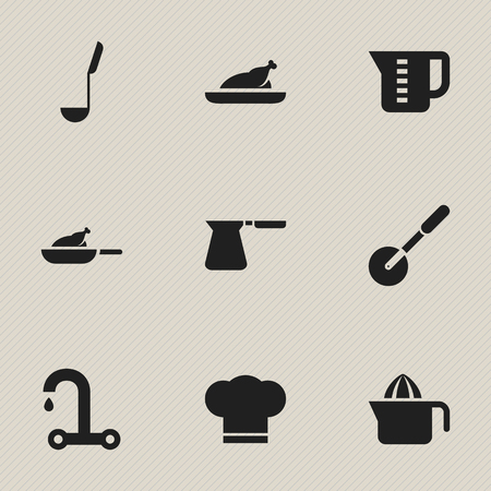 fried chicken wings: Set Of 9 Editable Meal Icons. Includes Symbols Such As Cook Cap, Grill, Fried Chicken And More.